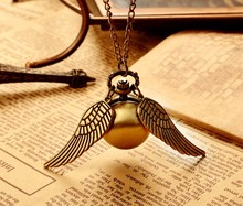 Vintage Bronze Steampunk Harry potter Golden Snitch ball pocket watch necklace children pendant chain good quality(China)