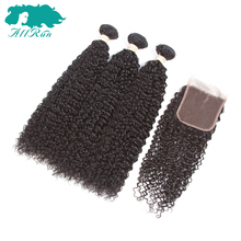 Allrun Pre-Colored India Human Hair Weave Kinky Curly 2/3 Bundles with 4*4 Closure Non-Remy Hair(China)