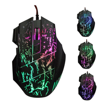 Novelty 7 Buttons Ergonomic Design Cool  Colorful  LED USB Wired  Black Gaming Mouse Compatible with Computer and Laptop