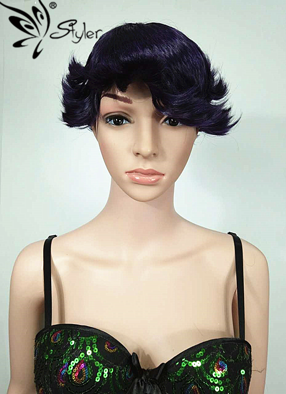 Fashion  Cosplay Short Curly Synthetic  Wig Glueless  Heat Resistant Hair Women Wigs Beauty Hair <br><br>Aliexpress
