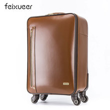 feixueer 16 inch Fashion Leather Trolley Luggage Men Business Boarding Suitcase Women Bonded Leather Travel Luggage Wheels Brown(China)