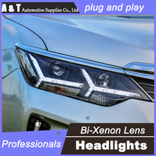 car styling For Toyota CAMRY headlights U angel eyes DRL 2015 For Toyota CAMRY LED light bar DRL Q5 bi xenon lens h7 xenon