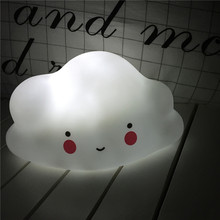 Cloud Smile Face Night Light Novelty Children's Bedroom Nursery Night Lamp LR44 Battery Emitting Children Room Decoration(China)