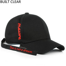 (BUILT CLEAR) casquette casual long belt embroidery baseball cap male and female black baseball cap white hat snapback