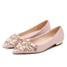 luxury dress Rhinestones pearl Sweet Women's shoes Flat heel shoes fashion Comfortable pointed toe designer women shoes