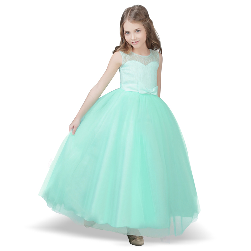 Brand Baby Kids Girls Flower Girl Party Frock Dress Girls Clothes Long Tulle Wedding Gown Children Teenager Formal Wear 12T