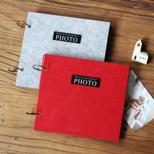 Plush Felt Blanket cover loose-leaf sticky type photo album with PVC bag wedding albums for scrapbooking  children album frames