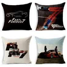 Movie Series Furious 7 Cotton Linen Cushion Cover Decorative Pillowcase Chair Seat Square Throw Pillow Case Home Decorative(China)