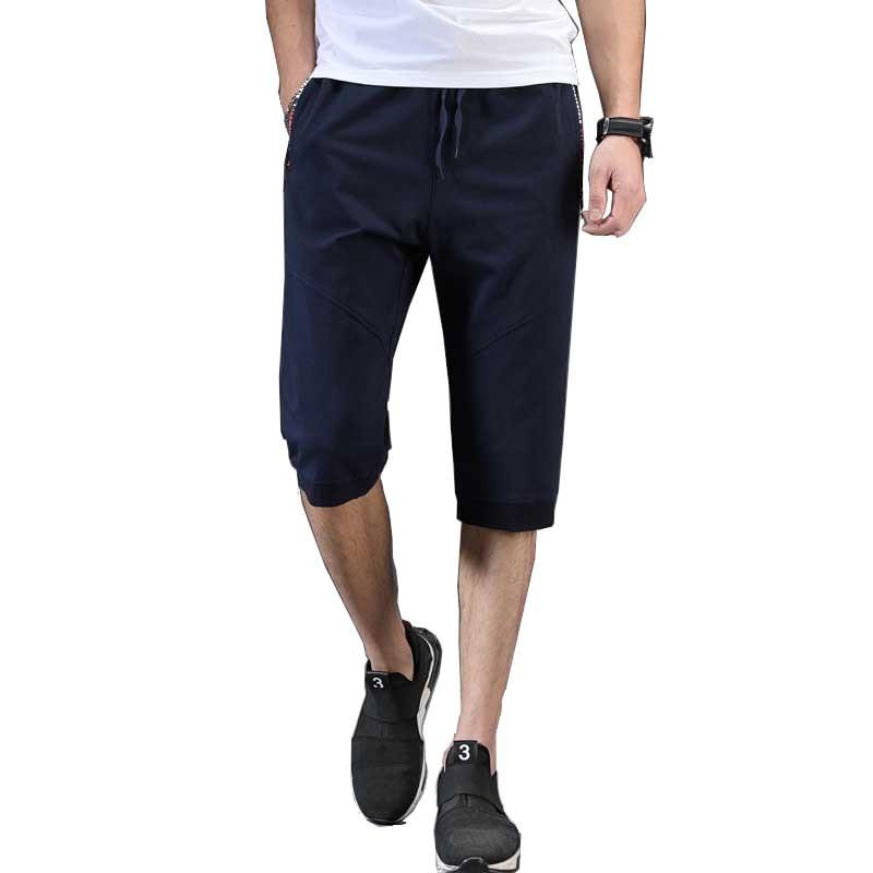 Men/'s Fleece 3//4 Length Fashion Shorts Casual Gym Cotton Pockets