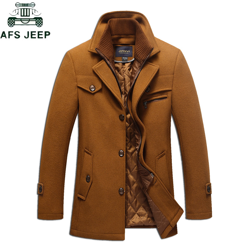 Plus Size 4XL 5XL Trench Jacket Coat Men Winter Thick Windbreaker Long Woolen Overcoat Abrigo hombre Brand Trench Wool Jackets