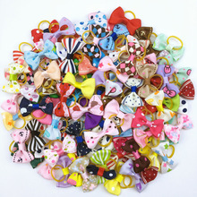 (100 pieces/lot) Cute Ribbon Pet Grooming Accessories Handmade Small Dog Cat Hair Bows With Elastic Rubber Band 121 Colors(China)
