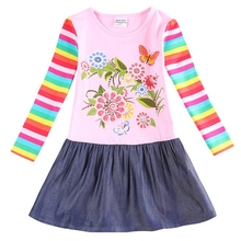 New Nova kids brand baby's clothes girls dresses high quality hot selling winter flower kids dresses children frocks H5795