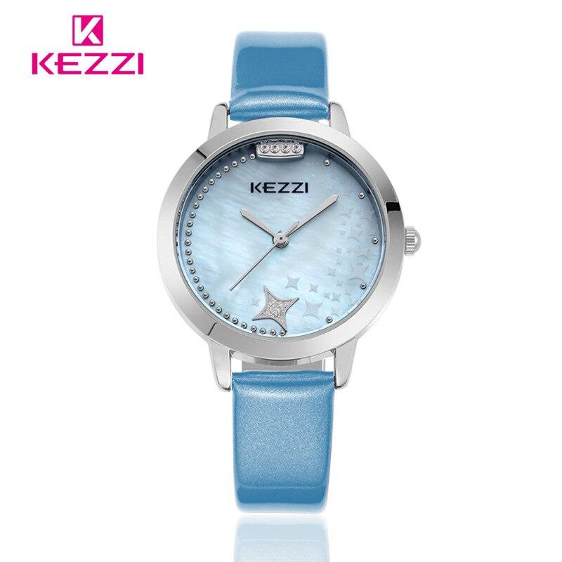 Brand KEZZI Women Dress Watches Leather Strap Leaf Clover Rhinestone Women Quartz -Watch Lady Luxury Wristwatches k1272<br><br>Aliexpress