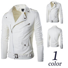 2017 fashion stand collar motorcycle leather clothing men's leather jacket male outerwear White Leather & Suede M-XXL(China)
