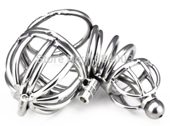 Steel Full Closed Penis Cage Male Chastity Lock With Steel Uretheral Catheter<br>