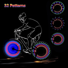 32 LED DIY Bicycle Light Programmable Bike Spokes Lights Motor MTB Tire Lamp Screen Display Image For Night Cycling Bike Part(China)