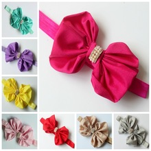 2016 baby infant newborn infant headband Bow Chiffon flowers hairbow elastic rhinestone headbands children hair accessories
