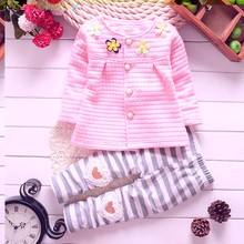 Baby girls cotton spring autumn clothing sets children's wear fashion Four flower long sleeved cardigan suit kids coat + pants