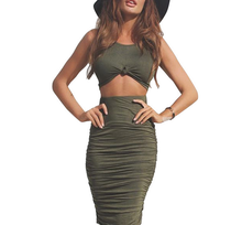 Women Dress Summer 2017 2 Piece Set  Green Knee Length Sleeveless Party Dress Fashionable Sexy Bodycon Bandage Dress A490220