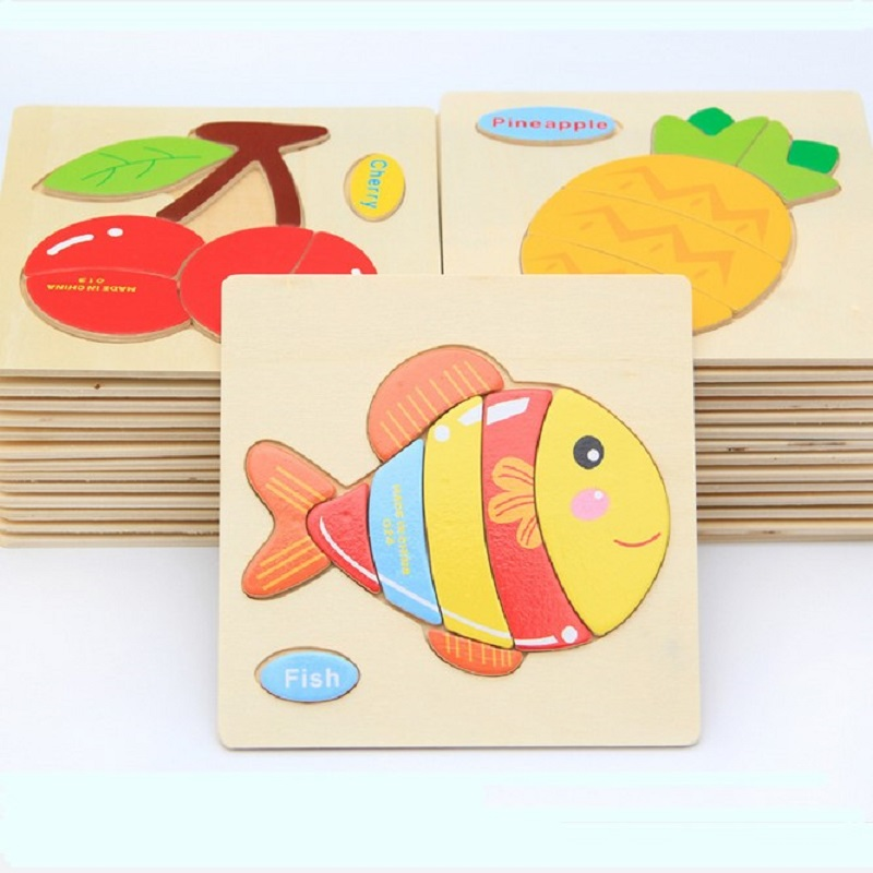 Wooden 3D Puzzle Jigsaw Wooden Toys For Kids Animals Puzzle Wooden Educational Toys Games For Children Gifts puzzles toys(China (Mainland))
