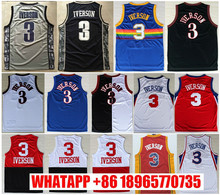 salable Wholesale Throwback #3 Allen Iverson Jersey High Quality New Style Allen Iverson College Basketball Jerseys Embroidered
