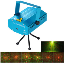 Mini Laser Projector Stage Light Strobe Laser Show Party Stage Lamp Soundlights Home Color Music DJ Disco Xmas Party Club Light(China)