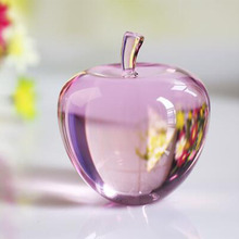 1pcs 80mm Crystal Apple Paperweight Craft White Glass Gift Home Decoration Arts&Collection Christmas Wedding Souvenir(China)