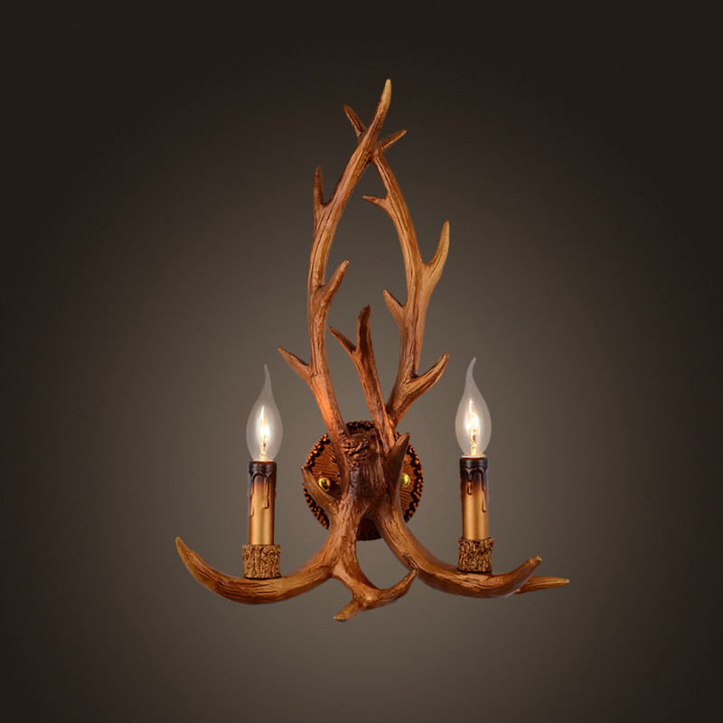 Modern Country Style Vintage Antler Wall Sconce Light Bedroom Brown Buckhorn Wall Lamp Fixture E14<br><br>Aliexpress