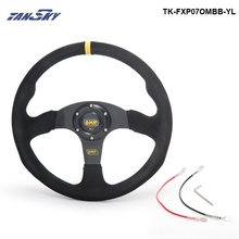 TANSKY -14 inch 350mm Racing Car OM Racing Car Steering Wheel Suede Leather Drifting Steering Wheels TK-FXP07OMBB-YL(China)