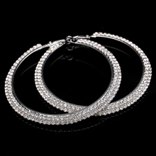 2017 Hot Sale New Round Trendy Women Orecchini Earings Gorgeous Coloured Rhinestone Large Lever Back Hoop Earrings 8cm Diameter(China)