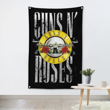 GUNS N ROSES Rock Band Poster Banners Bar Cafe Hotel Theme Wall Decoration Hanging Art Waterproof Cloth Polyester Fabric Flags(China)