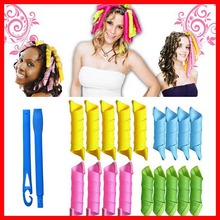 Newest 18 pcs  Hair Curlers Fashion Rollers Magic Curler Rollers + 2pcs Hooks Plastic Hair Rollers Pear Head Hooks