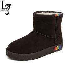 Snow Boots Fashion Women Winter Boots Suede Leather Fur Lined Warm Boot Women's Casual Winter Shoes