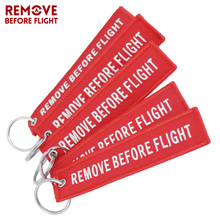 Remove Before Flight Chaveiro Tag Embroidery Keychain Key Ring for Aviation OEM Key Chains Jewelry Luggage Tag Key Fob 5 PCS/LOT(China)