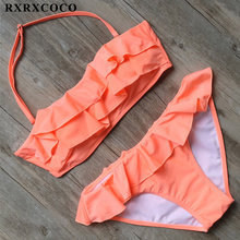 Buy RXRXCOCO Ruffle Bikini Set 2018 Sexy Solid Swimwear Women Bandeau Bikini Halter Bandage Swimsuit Female Padded Bathing Suit