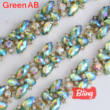 1 Yard Green AB Color Glass Cup Chains Rhinestone Cup Chain Claw Chains ,Rhinestone Trimming for DIY,Garment Accessories Y2316