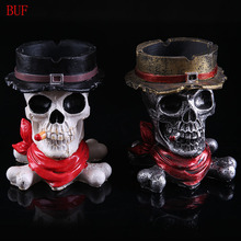 BUF Resin Craft Skull Statues For Decoration Buccaneer Skull Head Ashtray Creative Skull Ashtray Creative Gift(China)