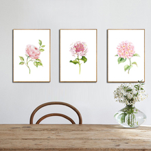 Modern Watercolor Canvas Art Print Painting of Chinese Rose,Hydrangea Macrophylla and Rare Flower,Wall Picture for Dining Room(China)
