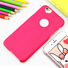 NganSek Phone Case for iPhone 7 Plus Case 6 6s Plus 5 5S SE Case Cute Hollow Out Mesh Love Shape Hard Phone Case Pink Rose Cute