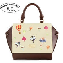Vintage Embroidery Women Handbag Brown Rivet Cover Umbrella Mori Girl Balloon Leather PU Tote Crossbody Shoulder Messenger Bags