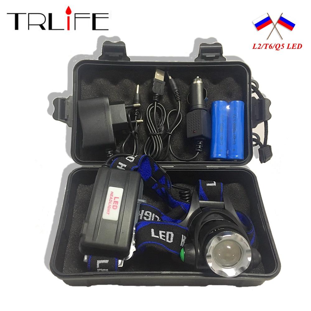 10000LM V6 L2 LED HeadLight Headlamp Lamp Zoomable Flashlight Light 3 Mode Upgrade Head Light +AC / Car charger +2*18650 Battery