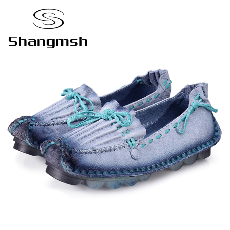 Shangmsh Genuine Leather Flat Handmade Outsole Comfortable Casual Shoes Women Flats Soft Single Shoes Solid Women Loafers<br>