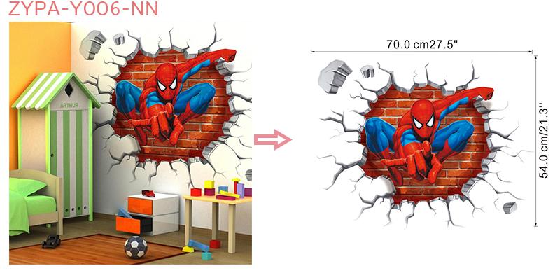 HTB1QSA5Xjn85uJjSZFMq6yuEXXaw - 3d effect hero spiderman wall stickers for kids rooms