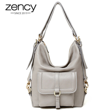 Zency Brand Hot Sale Fashion Ladies Hobos Classic Women Handbag 100% Genuine Leather Large Capacity Shoulder Bag Casual Simple(China)