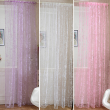 Newest Colorful Curtain Romance Butterfly Sheer Flocked Window Drape Panel Voile Curtains For Living Room
