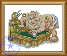 Gold Collection Counted Cross Stitch Kit Funny Old Man Bald Head Billiard Table Tennis Player