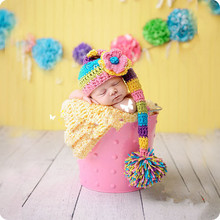 New Arrive Pink Flower Hats Handmade Newborn Baby Photography Props Knit Animal Costume Knitted Infant Beanies Crochet