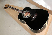 Factory Custom 41 inch 20 frets 35 black body Acoustic Guitar with solid top,chrome tuners,black pickguard,rosewood back