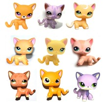 Pet Shop Purple Yellow Brown Orange Peach Pink Short Hair Cat Kitty Collection Loose Figure Child Girl Toy(China)