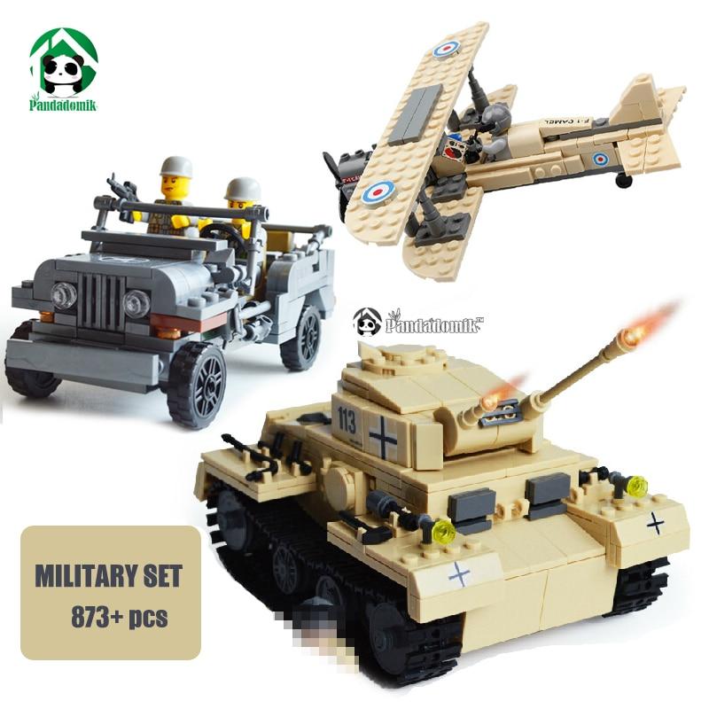 Military Set 873pcs Building Blocks Tank Panzer Army Jeep F-1 Camel Fighter Kazi Bricks are compatible with lego Bricks Parts<br>